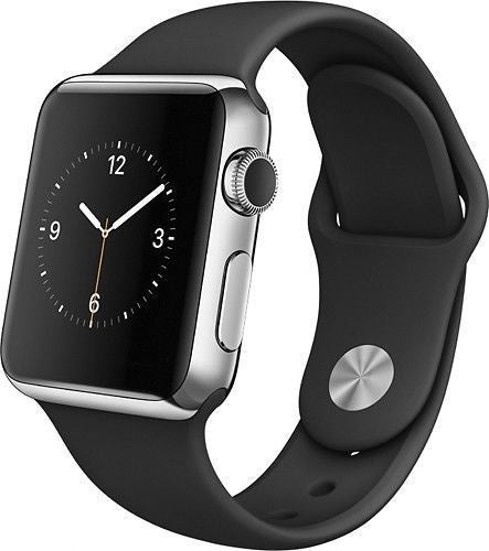 Apple Watch 42mm Smartwatch in Stainless Steel Case with Black Sport Band