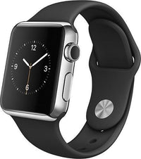 Apple Watch 38mm Smartwatch in Stainless Steel Case with Black Sport Band