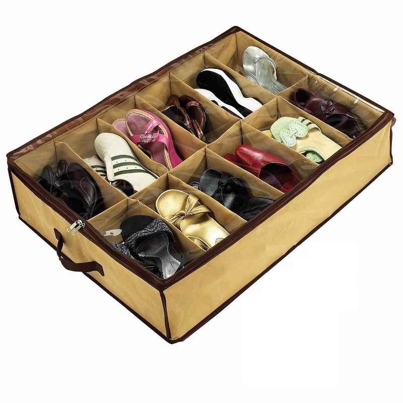 Shoe Organizer 12 Pairs Shoe Storage Holder For Under Bed or Closet