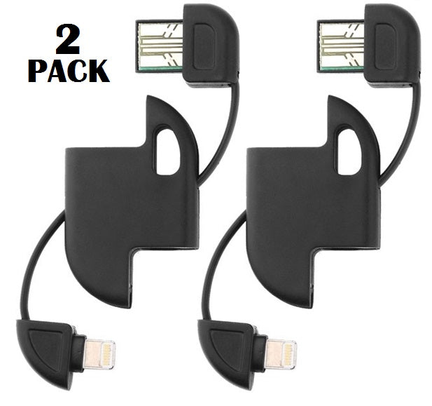 2 PACK: 8 Pin iPhone / iPod / iPad USB Cable Keychain