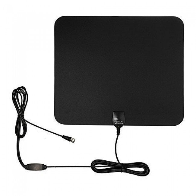 iTD Gear Ultra Thin Amplified Indoor TV Antenna for FREE Digital HDTV in Black