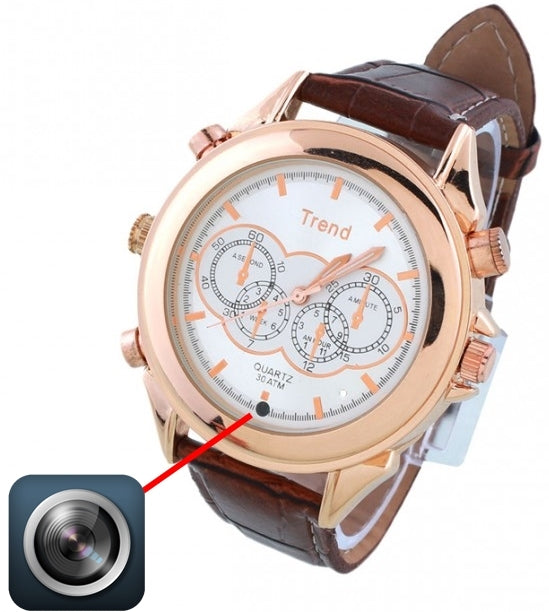 8GB Waterproof Watch with HD Camera & Video Recorder in Brown