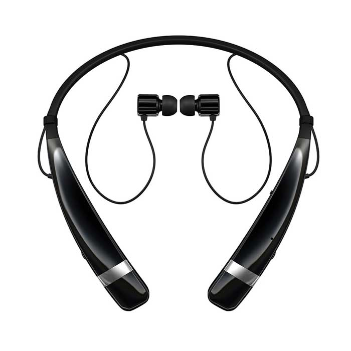 LG HBS-760 Tone Pro Bluetooth Wireless Stereo Headset in Black w/Microphone & Retractable Earbuds