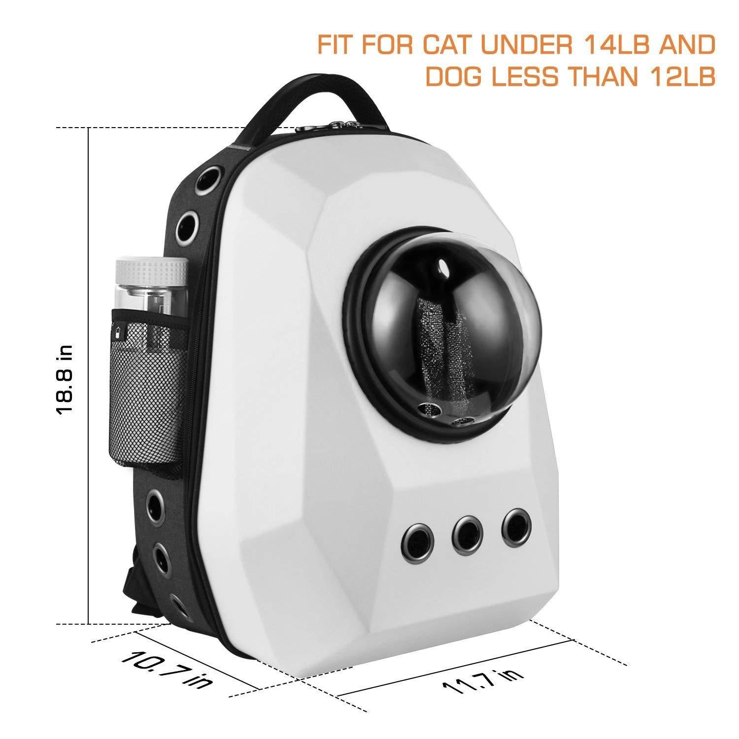 Pet Portable Carrier Space Capsule Backpack, Pet Bubble Traveler Knapsack Multiple Air Vents Waterproof Lightweight Handbag for Cats Small Dogs & Petite Animals