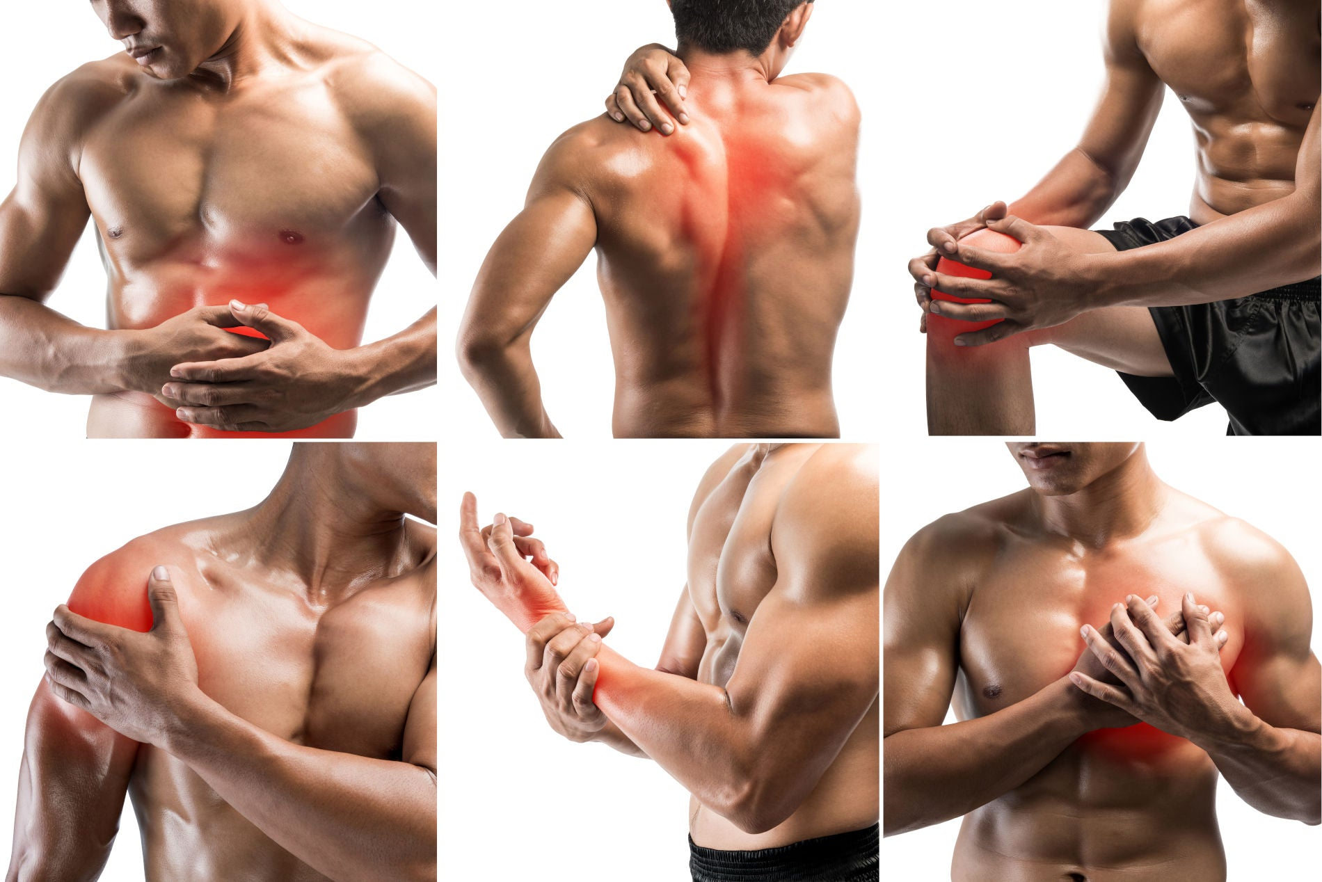 Collage showing muscle pain at several part of body