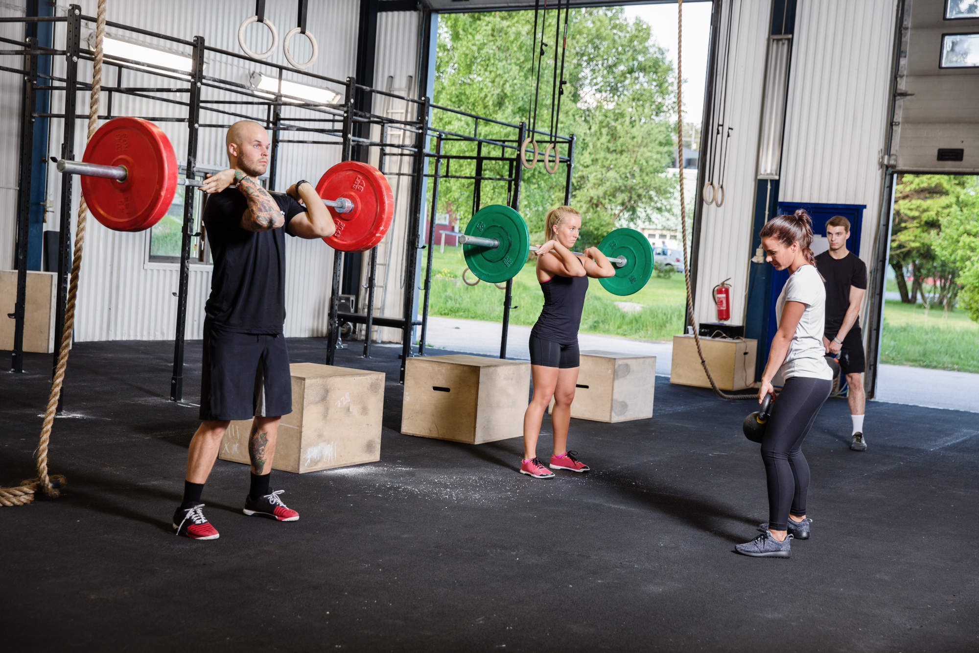Crossfit training with weights and kettlebells