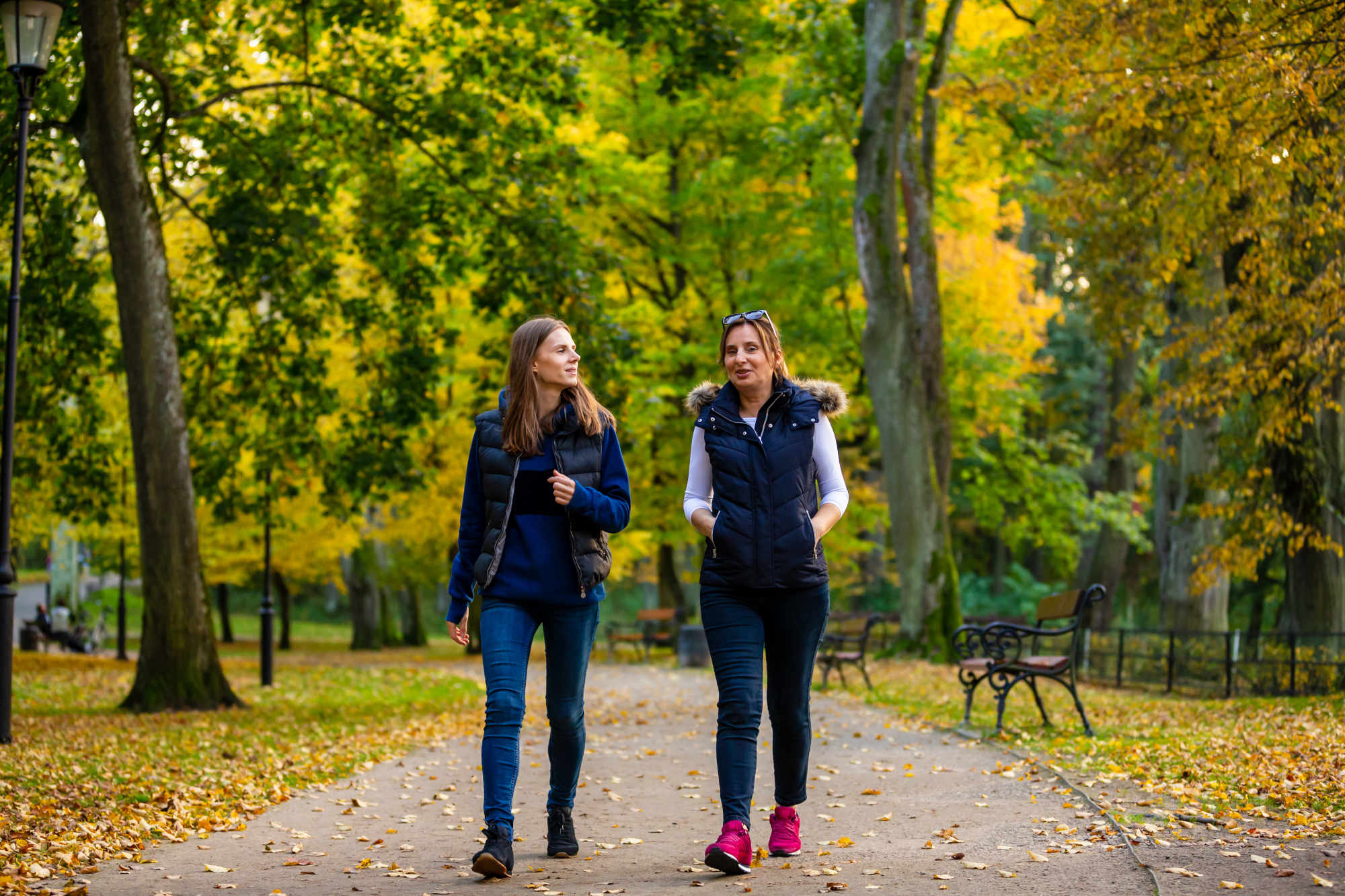 Two friends walking in a city park on a brisk fall day