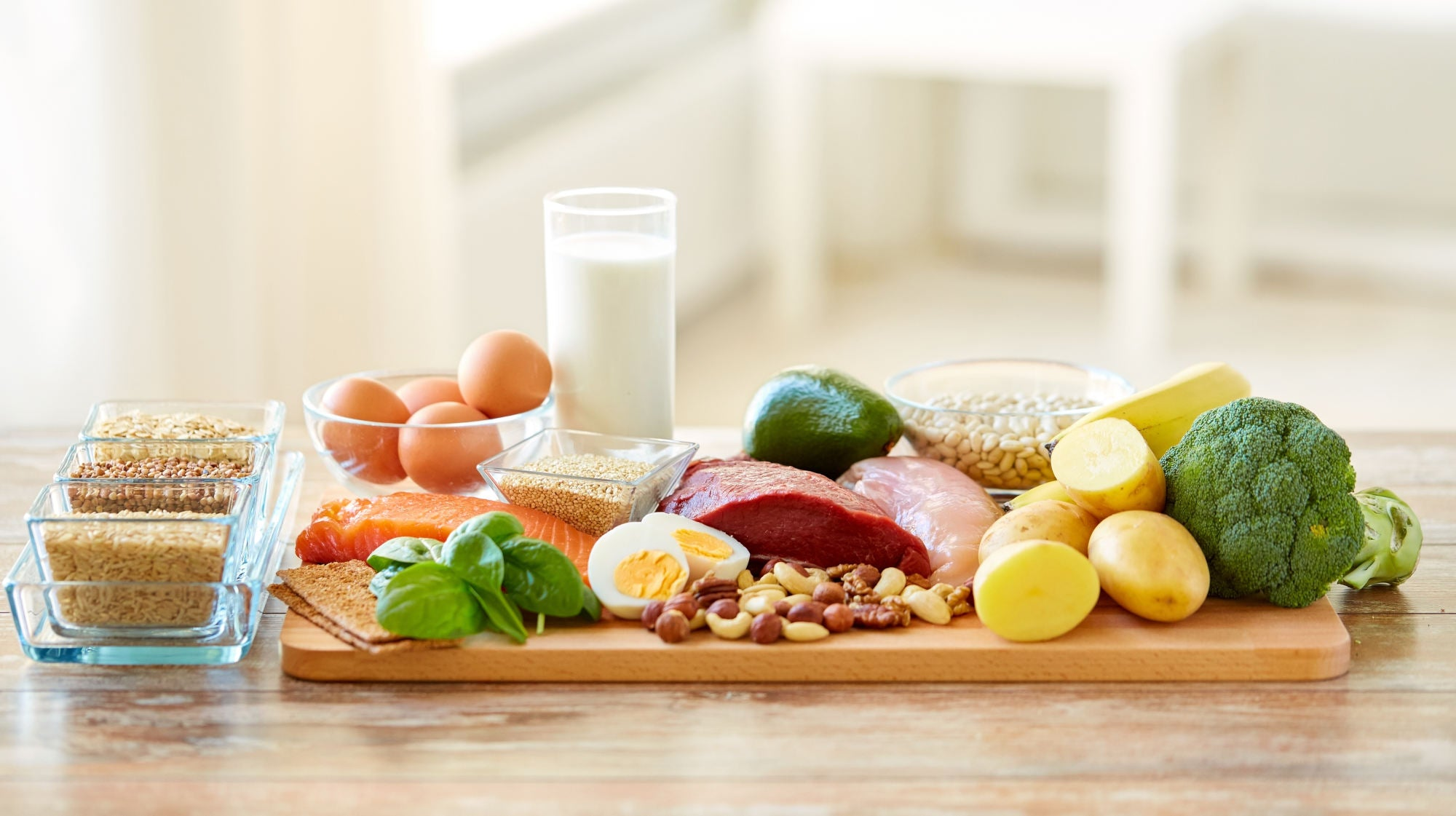 healthy eating and diet concept - natural food on table