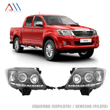 Load image into Gallery viewer, Faros con lupa y tira leds Hilux 2011-2014