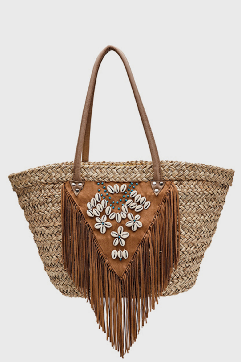 BaySky woven seagrass tote with faux suede fringe and shell and turquoise detail (BSB1727)-TOTE-BaySky