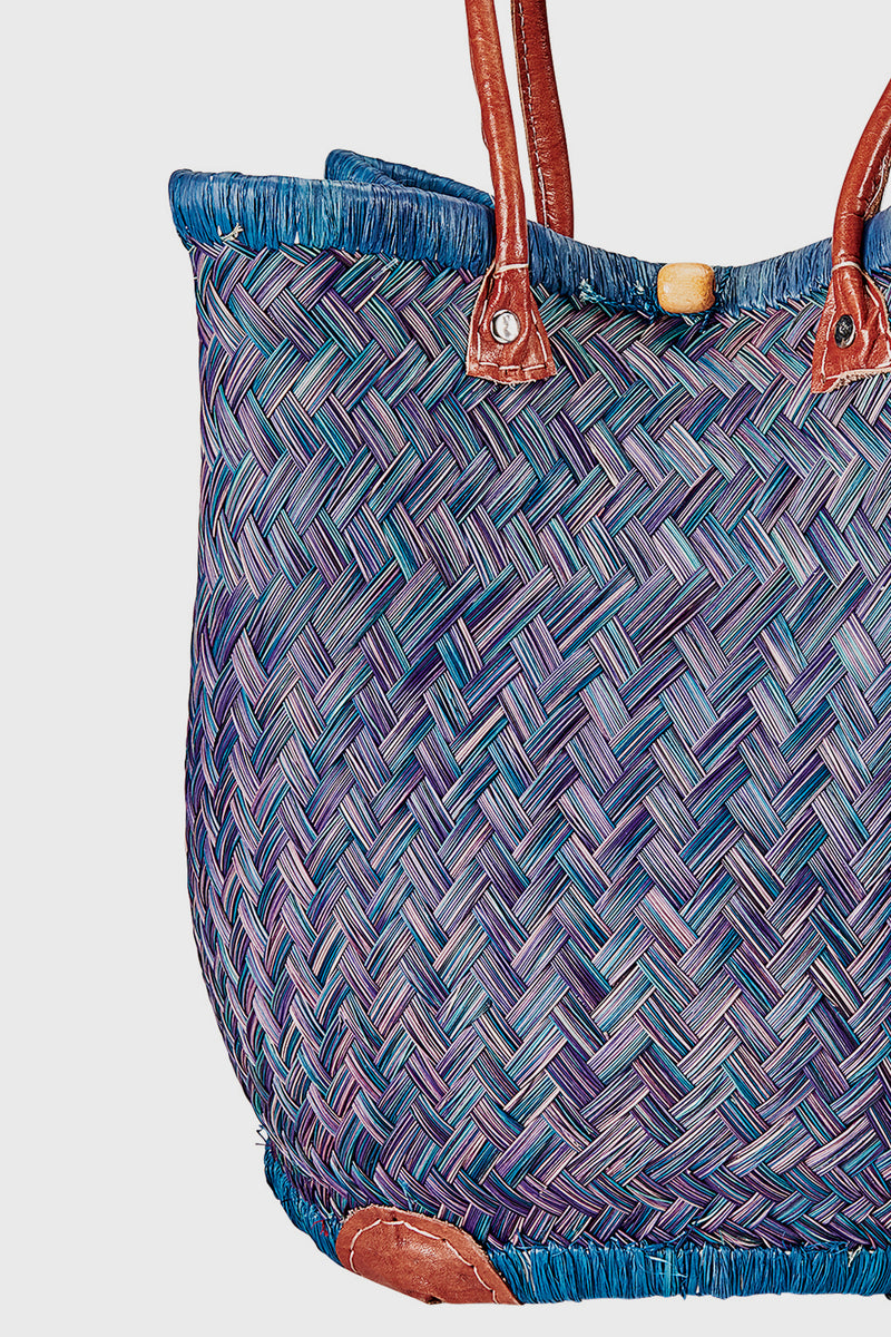 Hand Woven Straw Round Tote with Leather Handles (BSB3687)-TOTE-BaySky