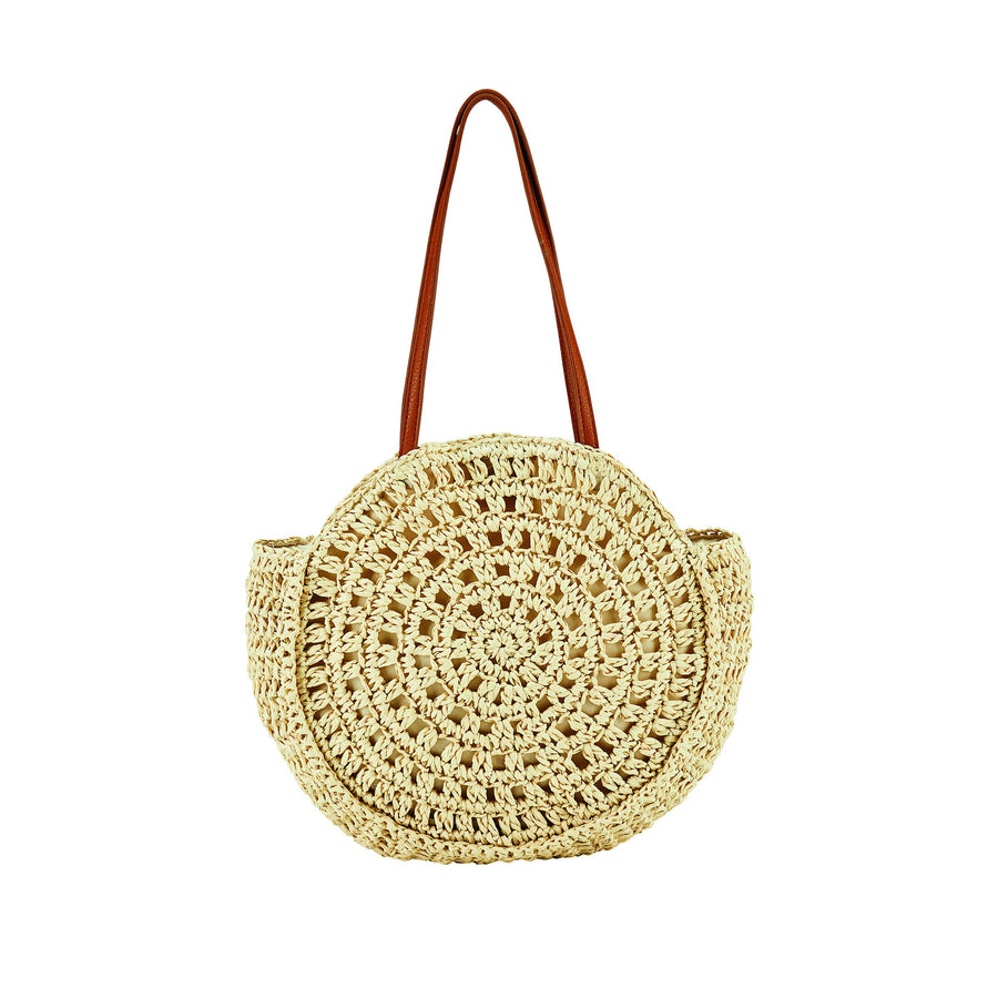 Circular Woven Paper Tote with Faux Leather Handles  (BSB3711)