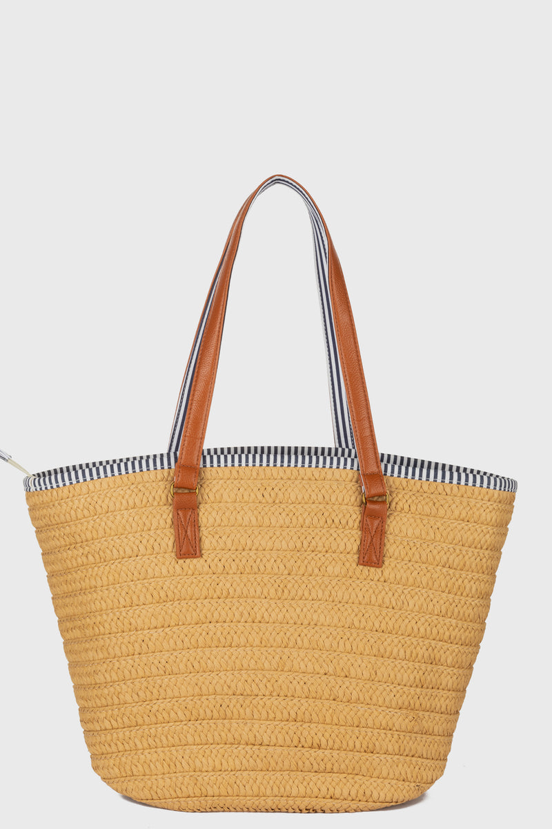 Tote With Leather Handles & Tassel & Stripe Lining With Zip Closure (BSB3742)-TOTE-BaySky