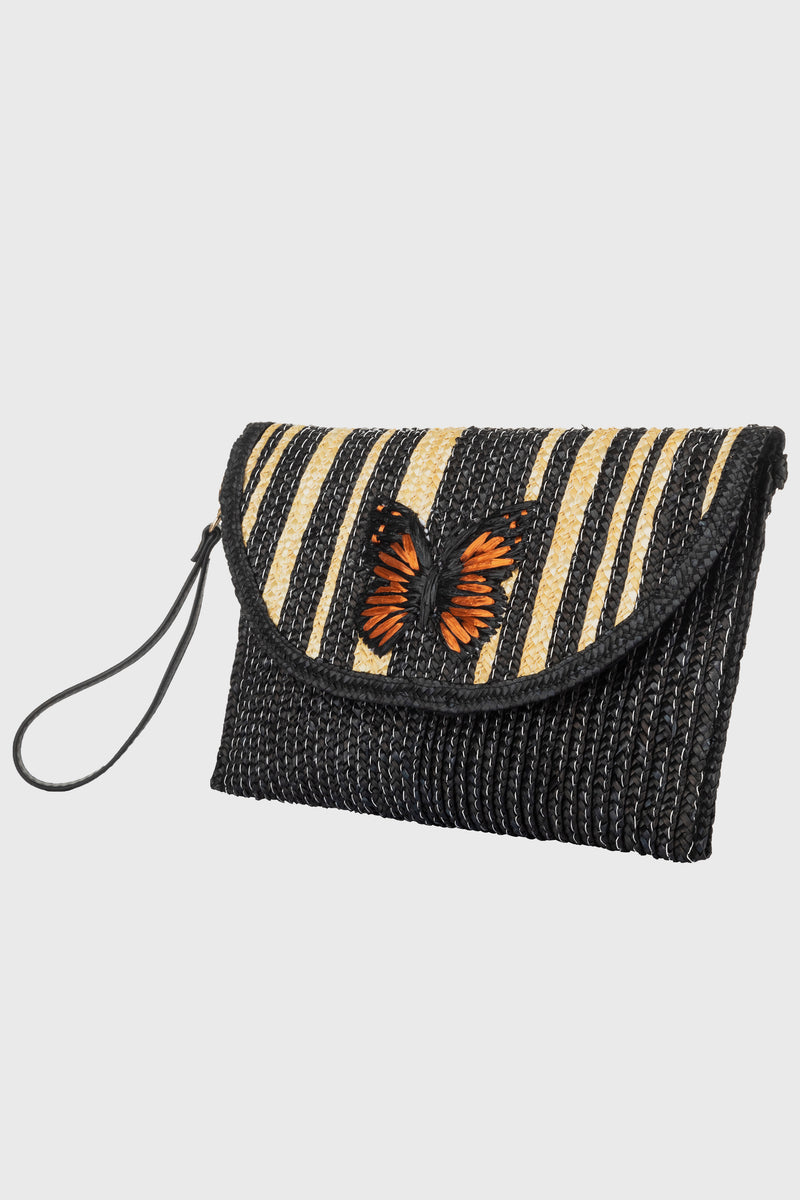 Clutch With Embroidered Butterfly, Detachable Wristlet & Snap Closure (BSB3745)-CLUTCH-BaySky