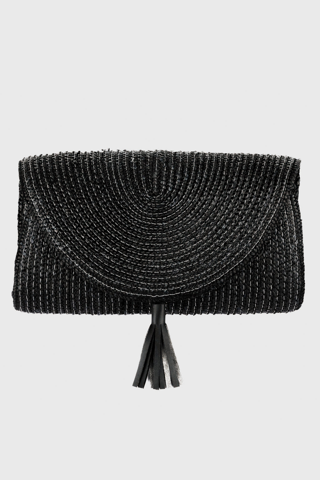 Clutch With Snap Closure & Leather Tassel Detail (BSB3746)-CLUTCH-BaySky