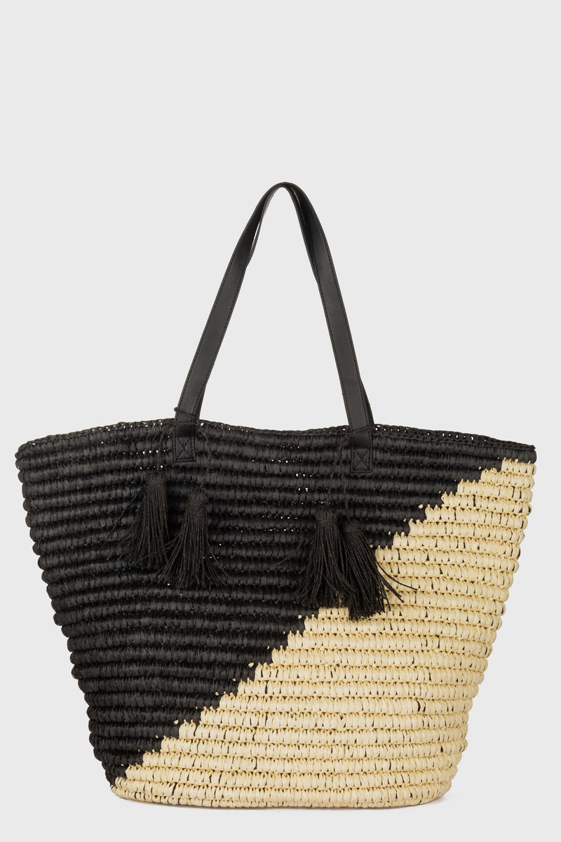 Color Blocked Tote With Leather Handles & Paper Tassels (BSB3749)-TOTE-BaySky
