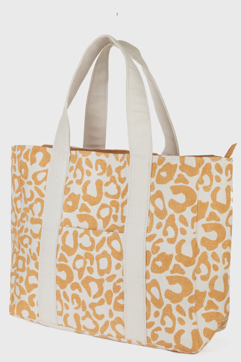 Leopard Printed Tote With Hidden Pocket At Front & Zip Closure (BSB3750)-TOTE-BaySky