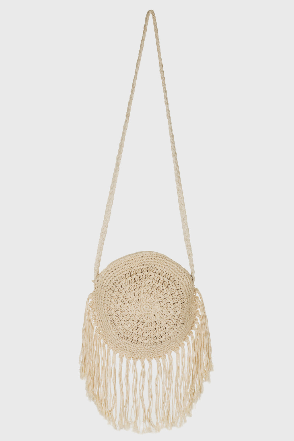 Circular Zip Top Cotton Crochet Crossbody (BSB3752)-CROSSBODY-BaySky