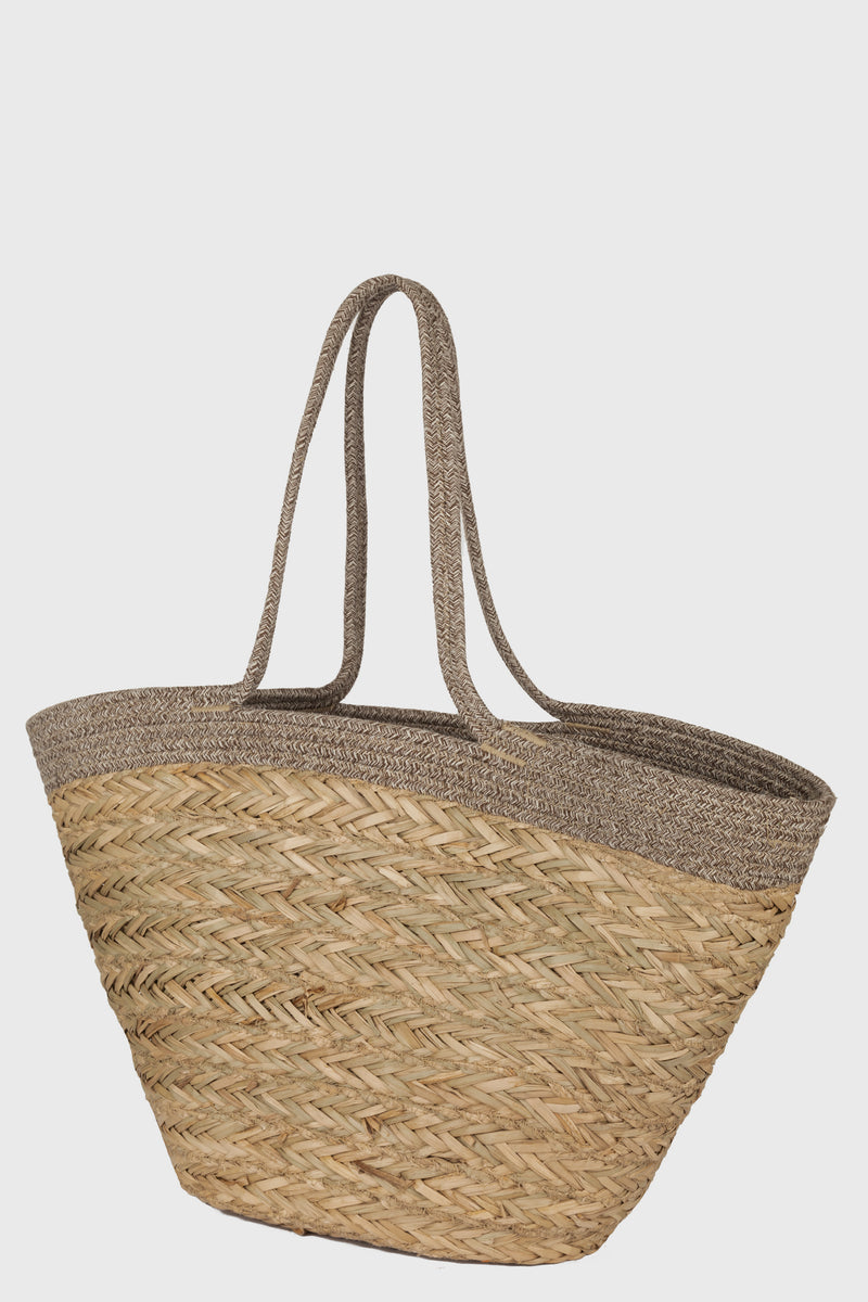 Seagrass Tote With Mélange Cotton Braid Handles (BSB3753)-TOTE-BaySky