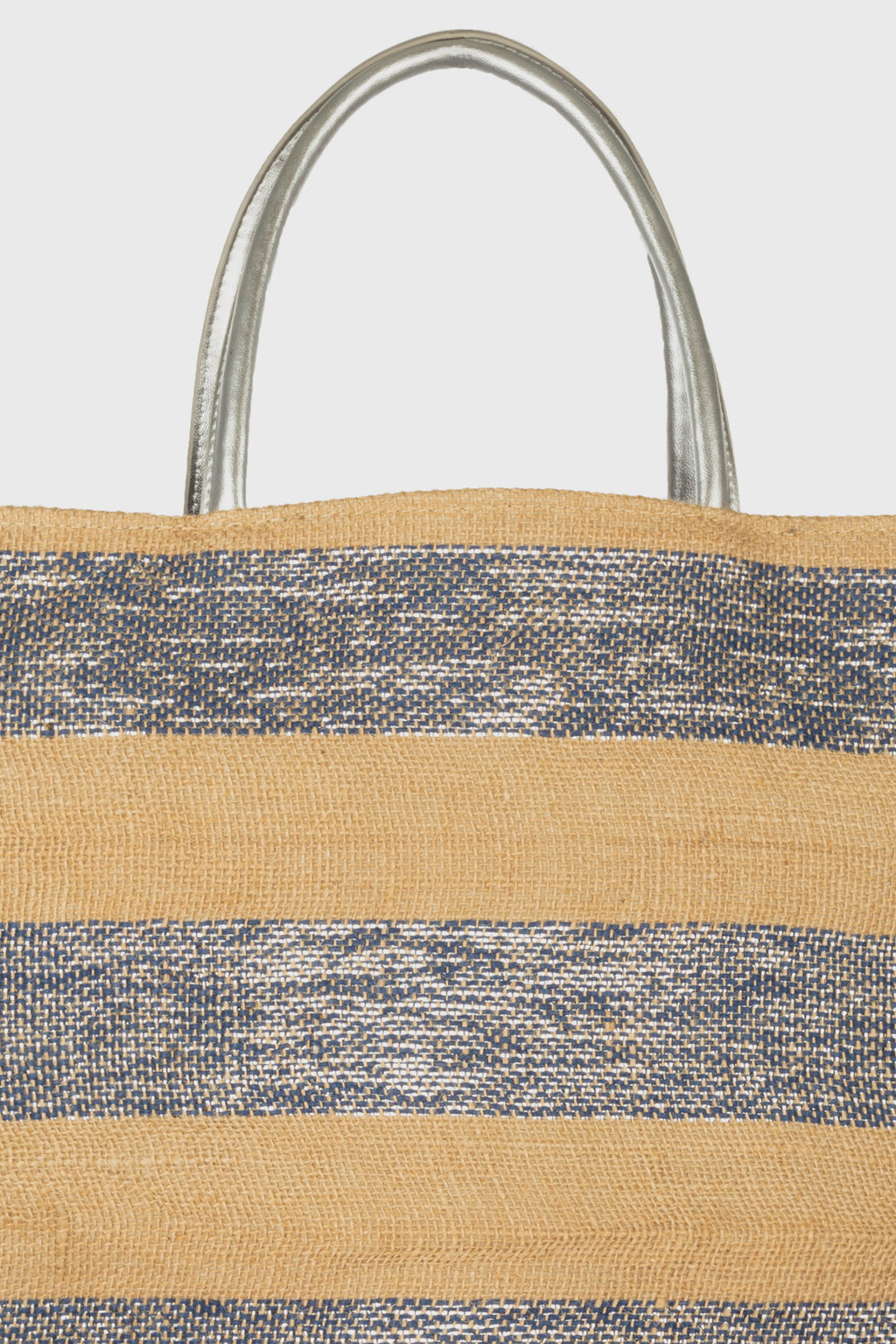 Striped Tote With Metallic Silver Leather Handles (BSB3755)-TOTE-BaySky