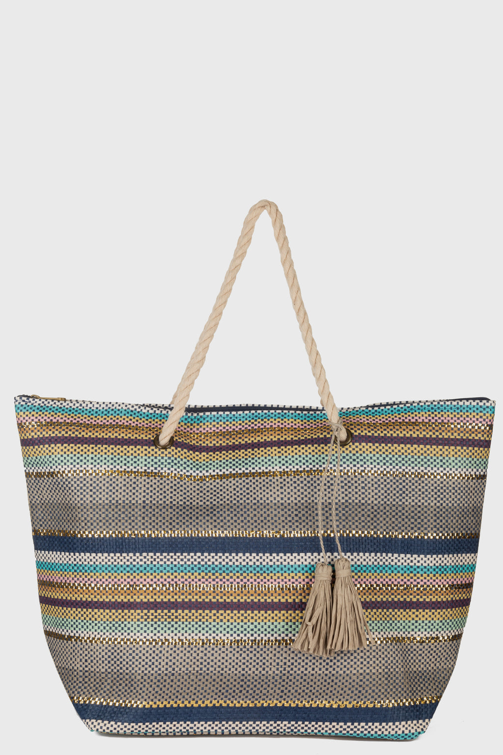 Stripe Beach Tote With Cotton Rope Handles, Paper Tassels & Zip Closure (BSB3756)-TOTE-BaySky