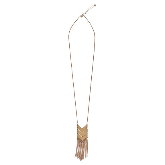 Long Necklace with 3 Chevron (BSJ3510OSGLD)