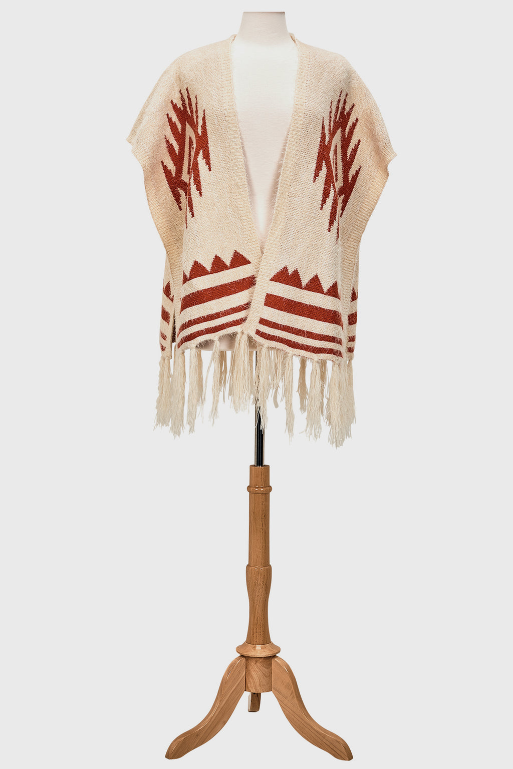 Open front aztec poncho with fringe (BSP3547OSRST)-PONCHO-BaySky