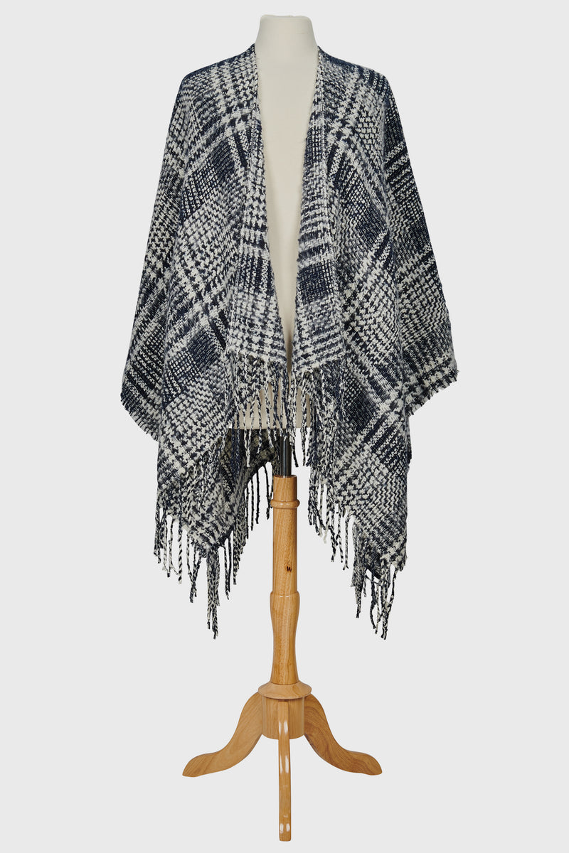 Women's Open Front Plaid Poncho (BSP3560)-PONCHO-BaySky