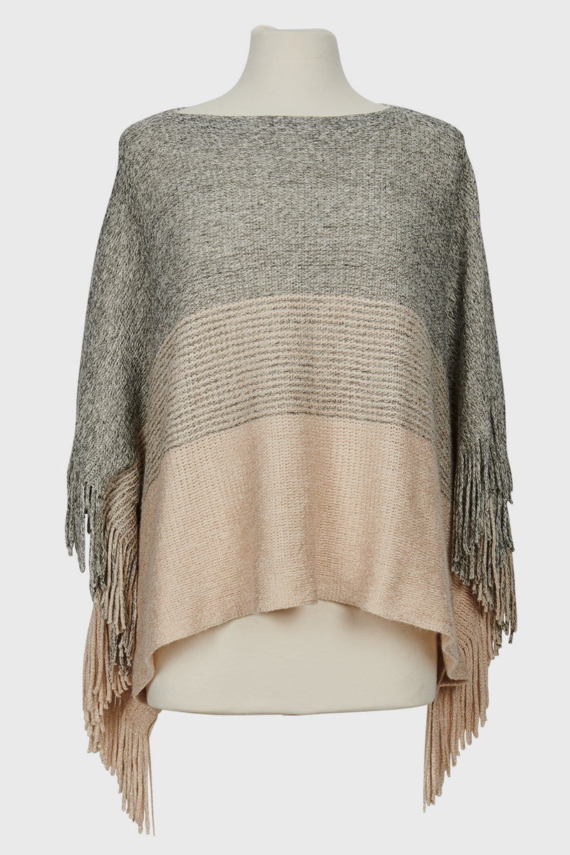 Women's Pullover Colorblocked Poncho w/Fringe (BSP3563)-PONCHO-BaySky