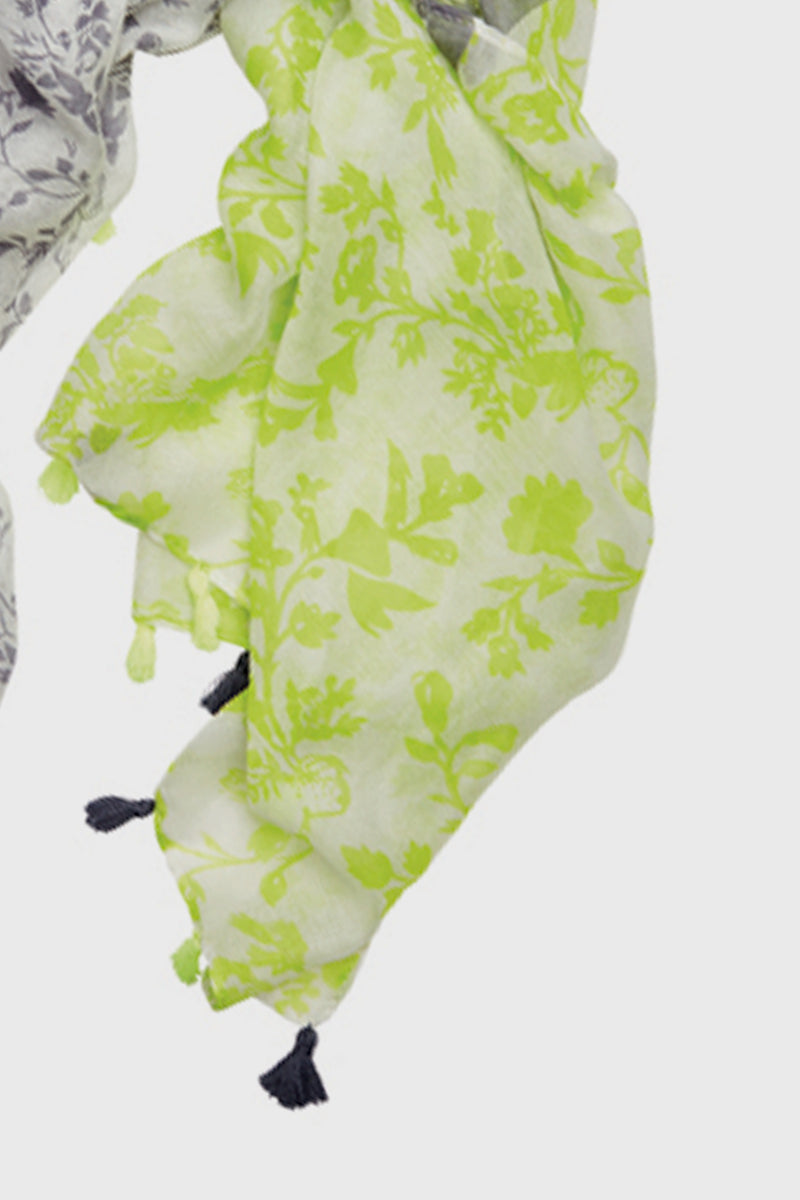Woven Scarf with Floral & Neon-SCARF-BaySky