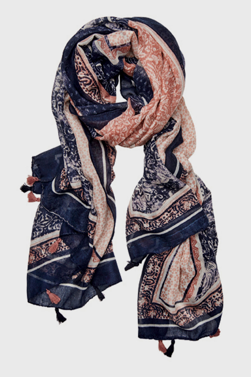 Woven All Over Print Scarf with Tassel-SCARF-BaySky