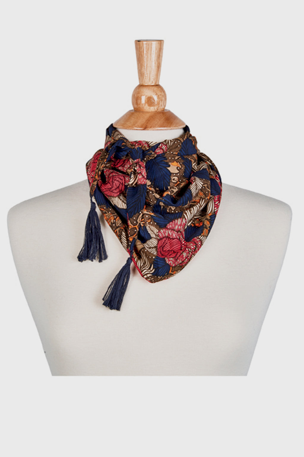 BaySky Woven Triangle Floral With Tassels (BSS1741)-SCARF-BaySky