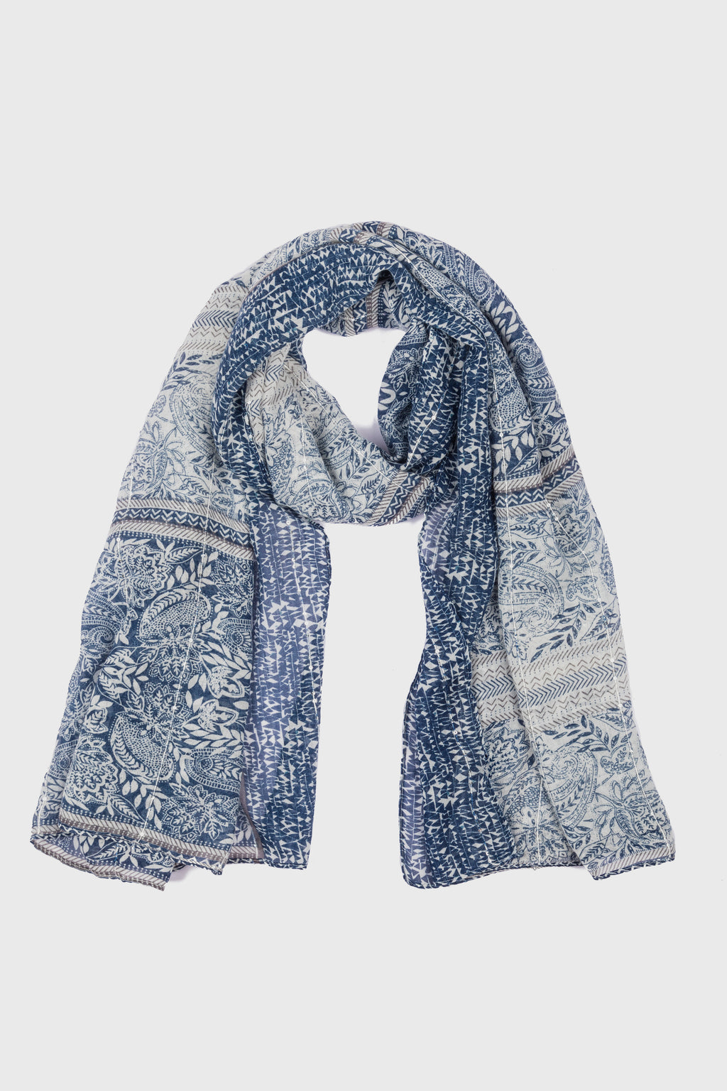 Paisley Printed Scarf With Lurex & Sequins (BSS3756)-SCARF-BaySky