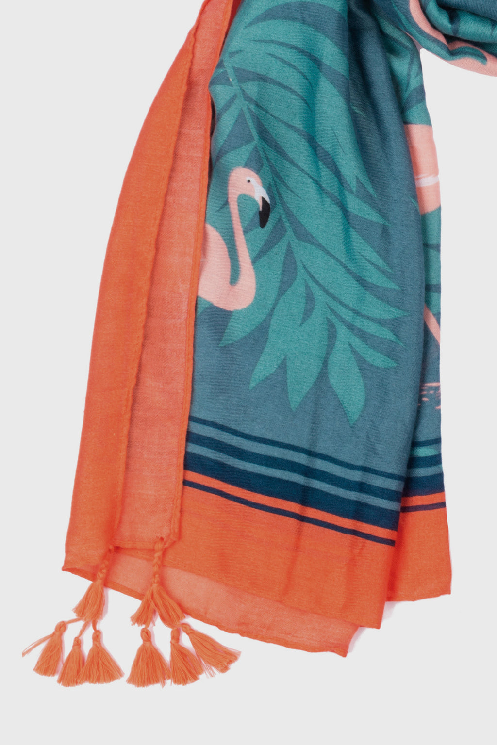 Flamingo Palm Printed Scarf With Tassels at Corners (BSS3757)-SCARF-BaySky