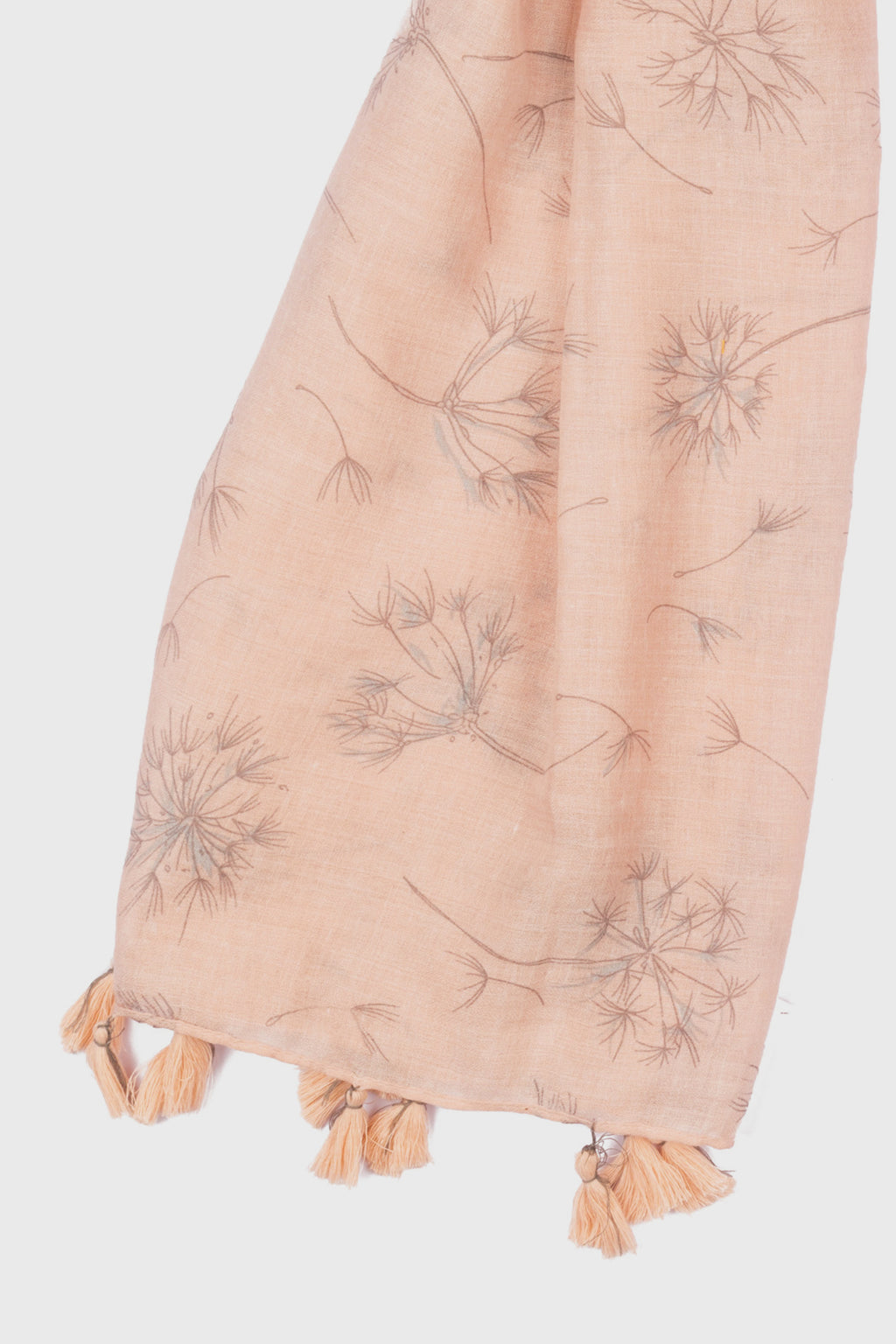 Dandelion Printed Scarf With Tassels at Each End (BSS3758)-SCARF-BaySky