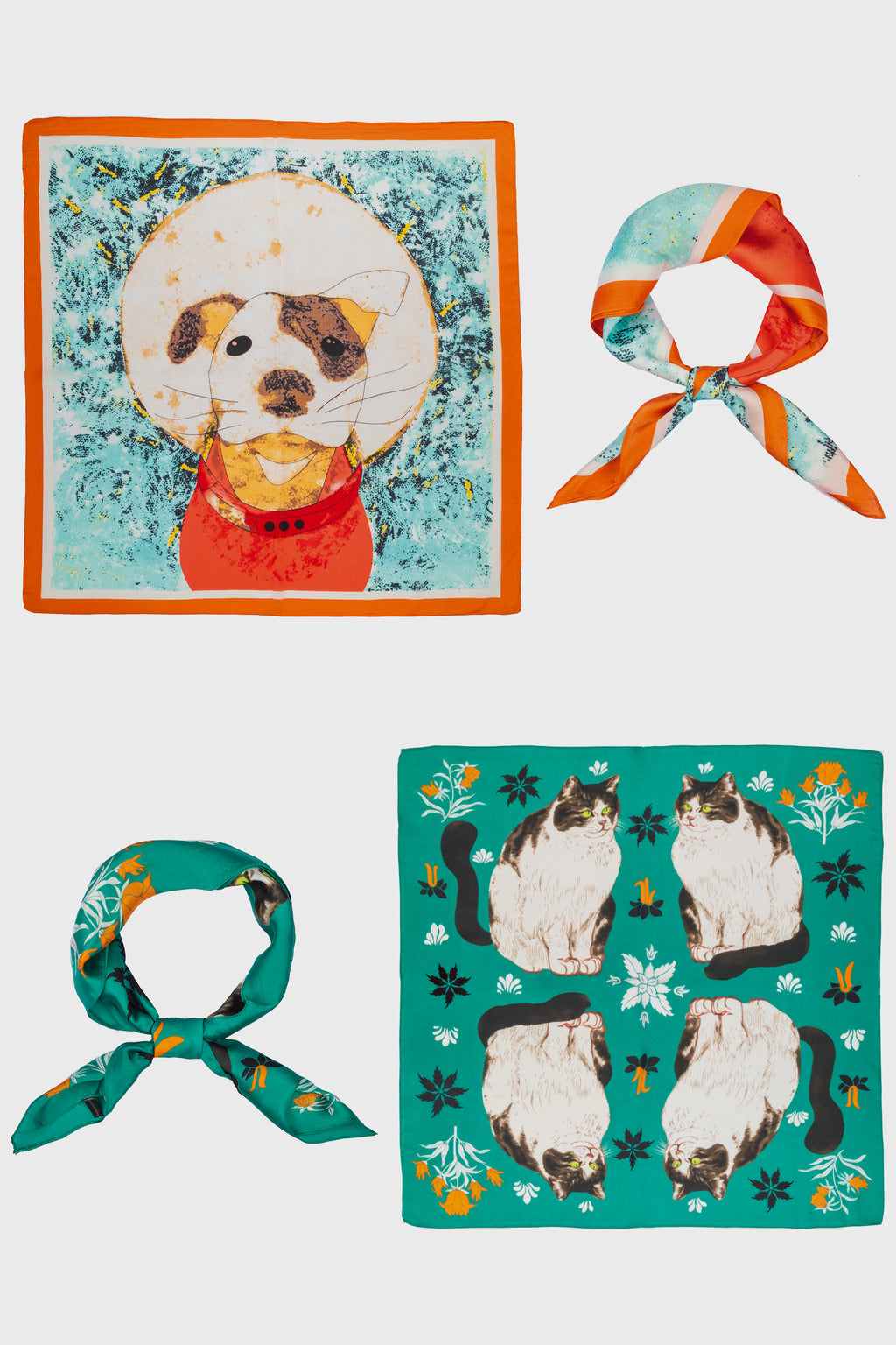 Dog & Cat Print Bandana Scarf Set of 2 (BSS3760)-SCARF-BaySky