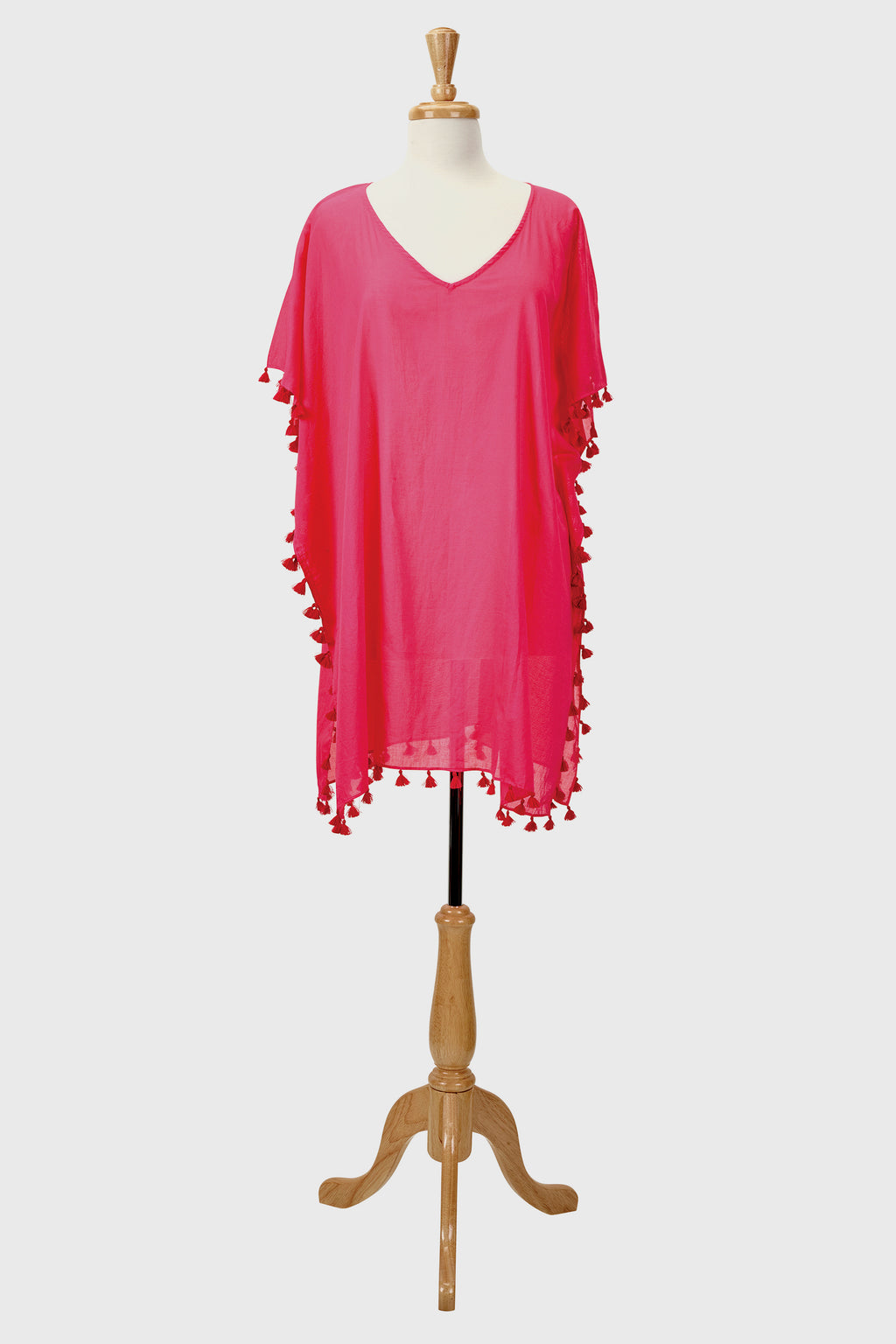 Womens V-Neck Cotton Tunic W/ Tassels-TUNIC-BaySky