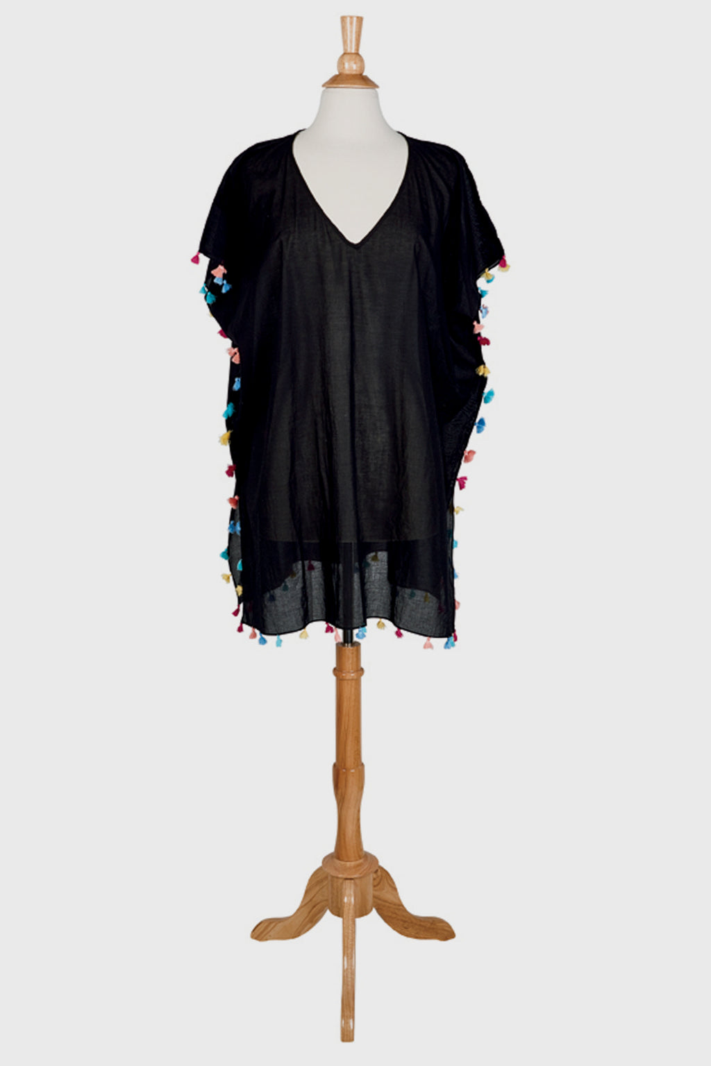 BaySky womens woven tunic with multi colored poms (BST1810OSBLK)-TUNIC-BaySky