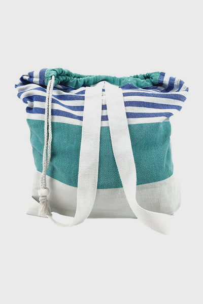 2-in-1 Cotton Bag and Blanket  in Teal
