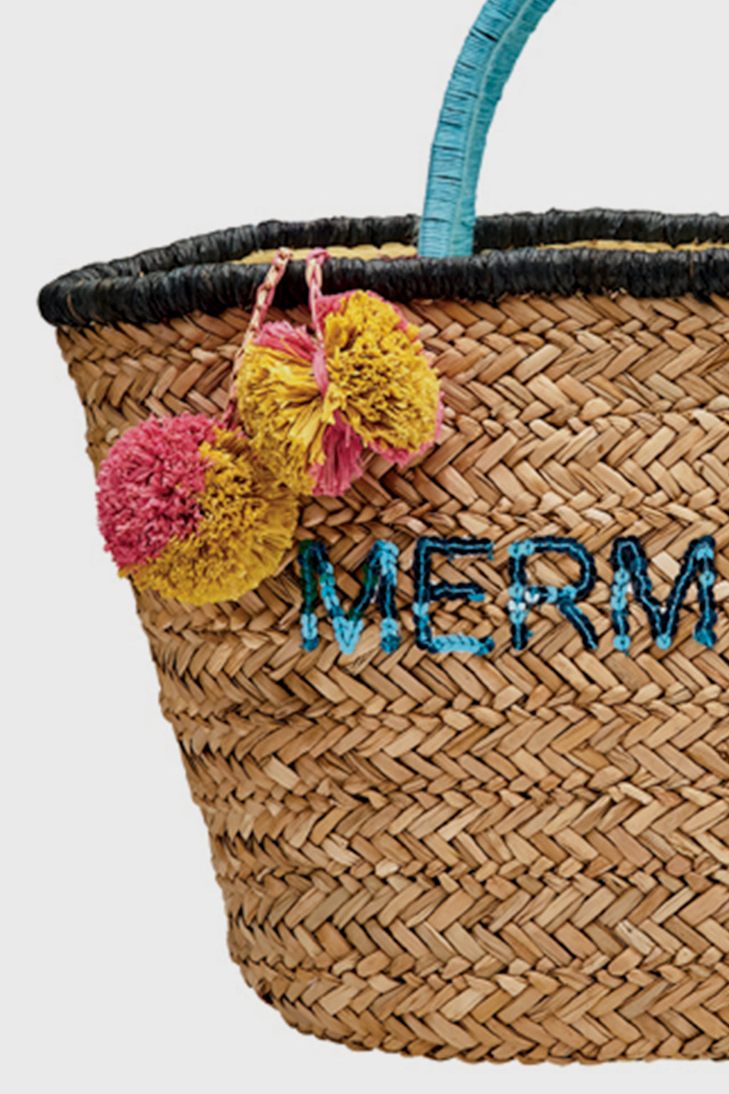 BaySky woven seagrass tote with mermaid embroider with pom detail (BSB1729)-TOTE-BaySky