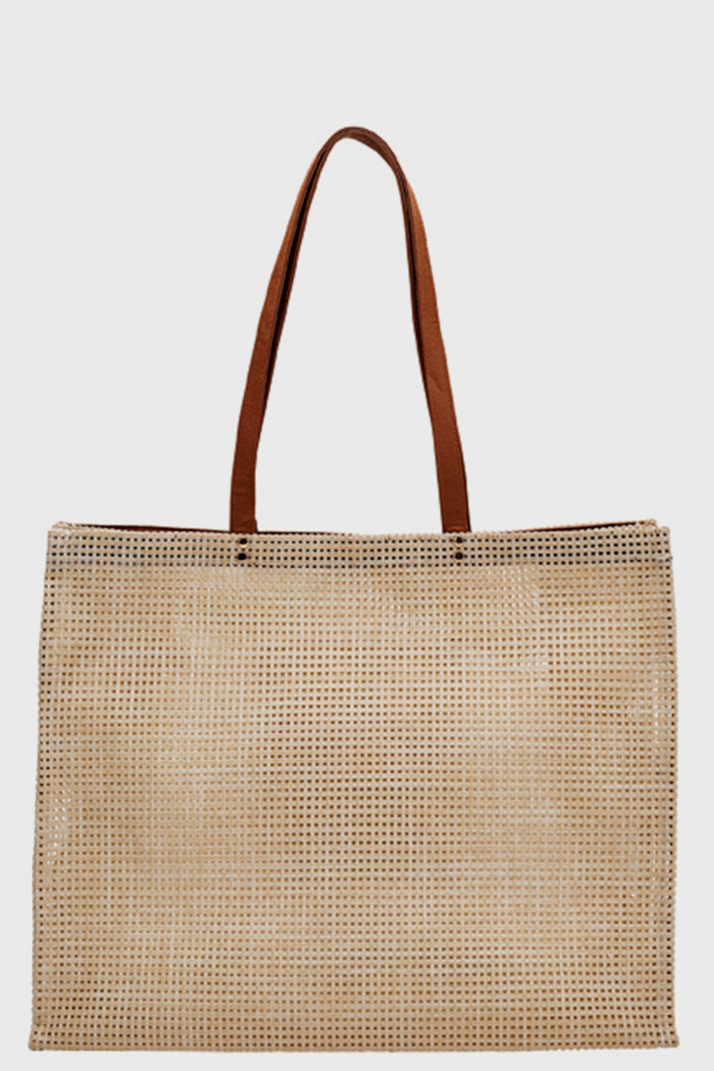 BaySky woven poly mesh tote with pleather handle (BSB1730OSNAT)-TOTE-BaySky