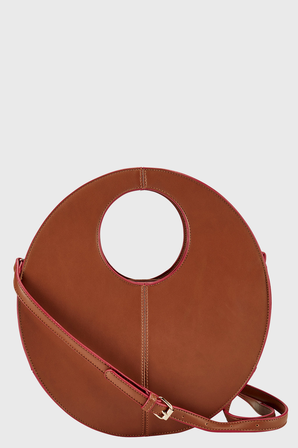 Structured Faux Leather Oval Bag (BSB3669)-CROSSBODY-BaySky