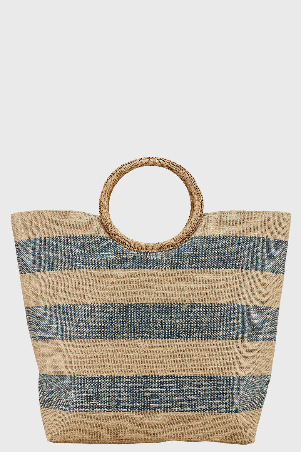 Jute & Lurex Striped Tote with Straw Wrapped Round Handles (BSB3709)-TOTE-BaySky