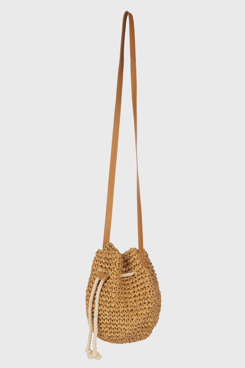 Mini Bucket Bag With Rope Drawcord, Cinch Closure & Leather Straps (BSB3747)-CROSSBODY-BaySky