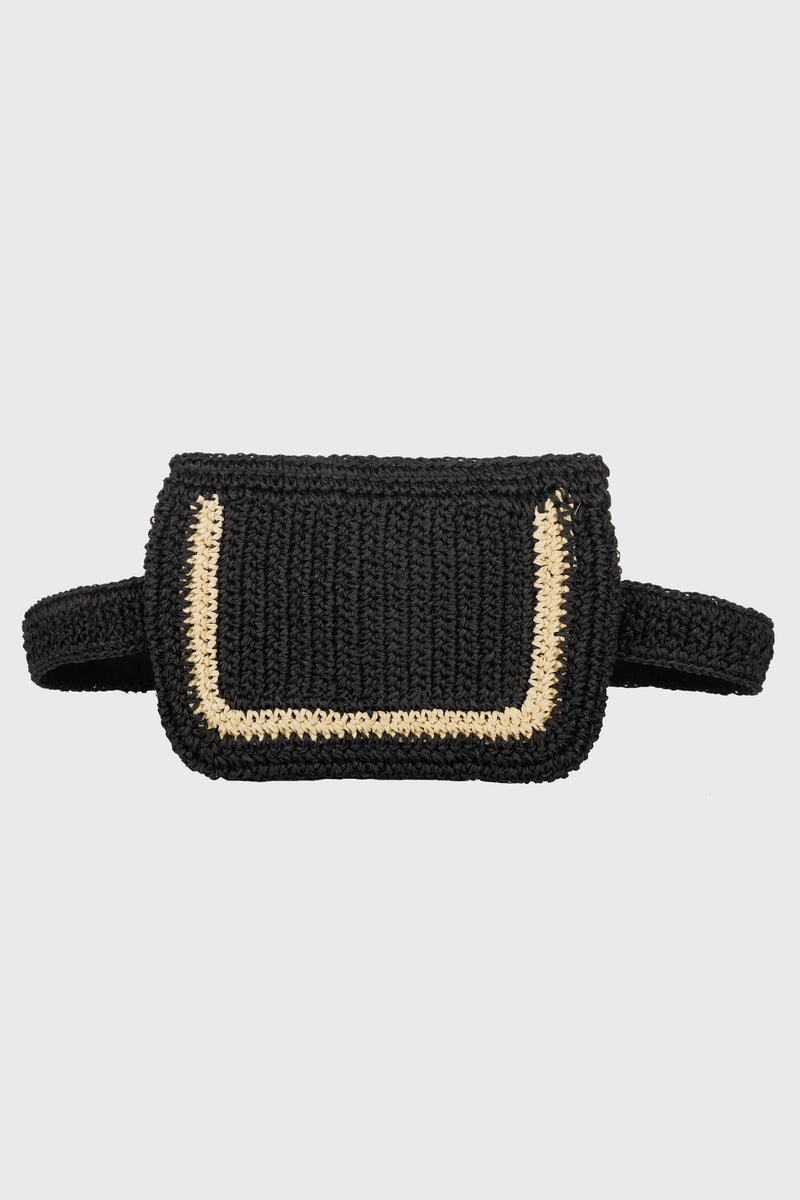 Belt Bag With Adjustable, Removable Leather Backed Straw Belt (BSB3748)-CLUTCH-BaySky
