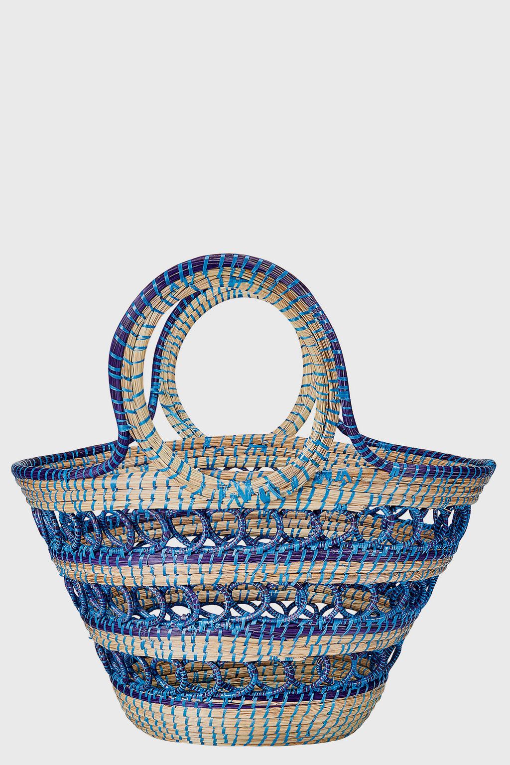 Hand Woven Straw Market Tote (BSB3686)-TOTE-BaySky