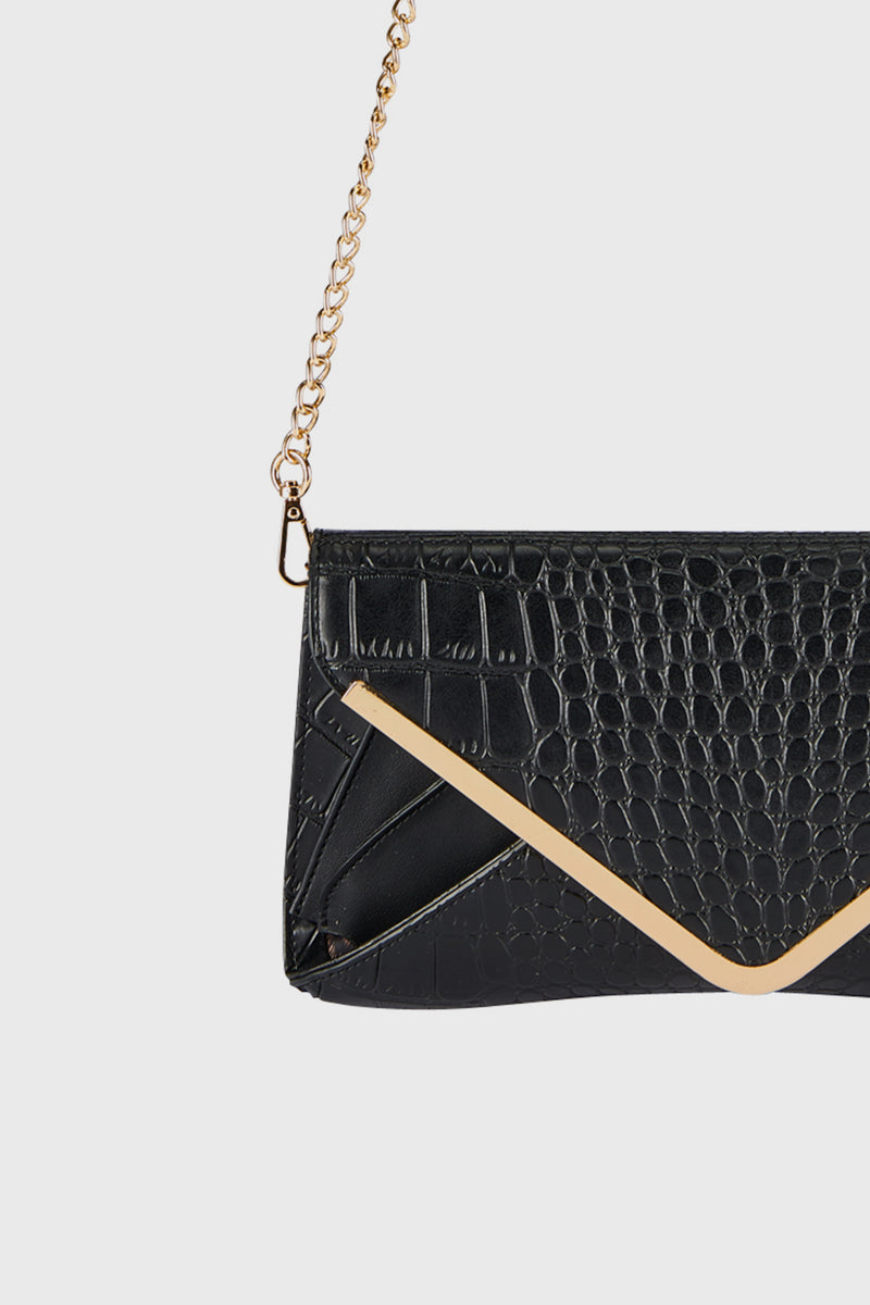 Croc Embossed & Smooth Pu Leather Envelope Clutch (BSB3738)-CLUTCH-BaySky