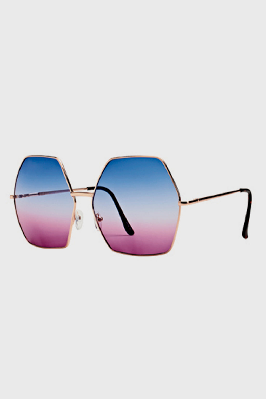 Women's Metal Oversized Hexagon Frame w/ Multi Color Tint (BSG1056 )-SUNGLASSES-BaySky