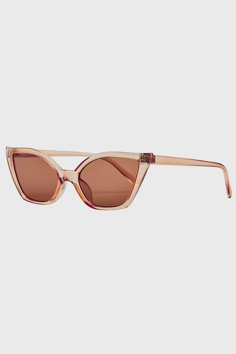 Flat Bottom Cat Eye With Brown Lens (Bsg1130)-SUNGLASSES-BaySky