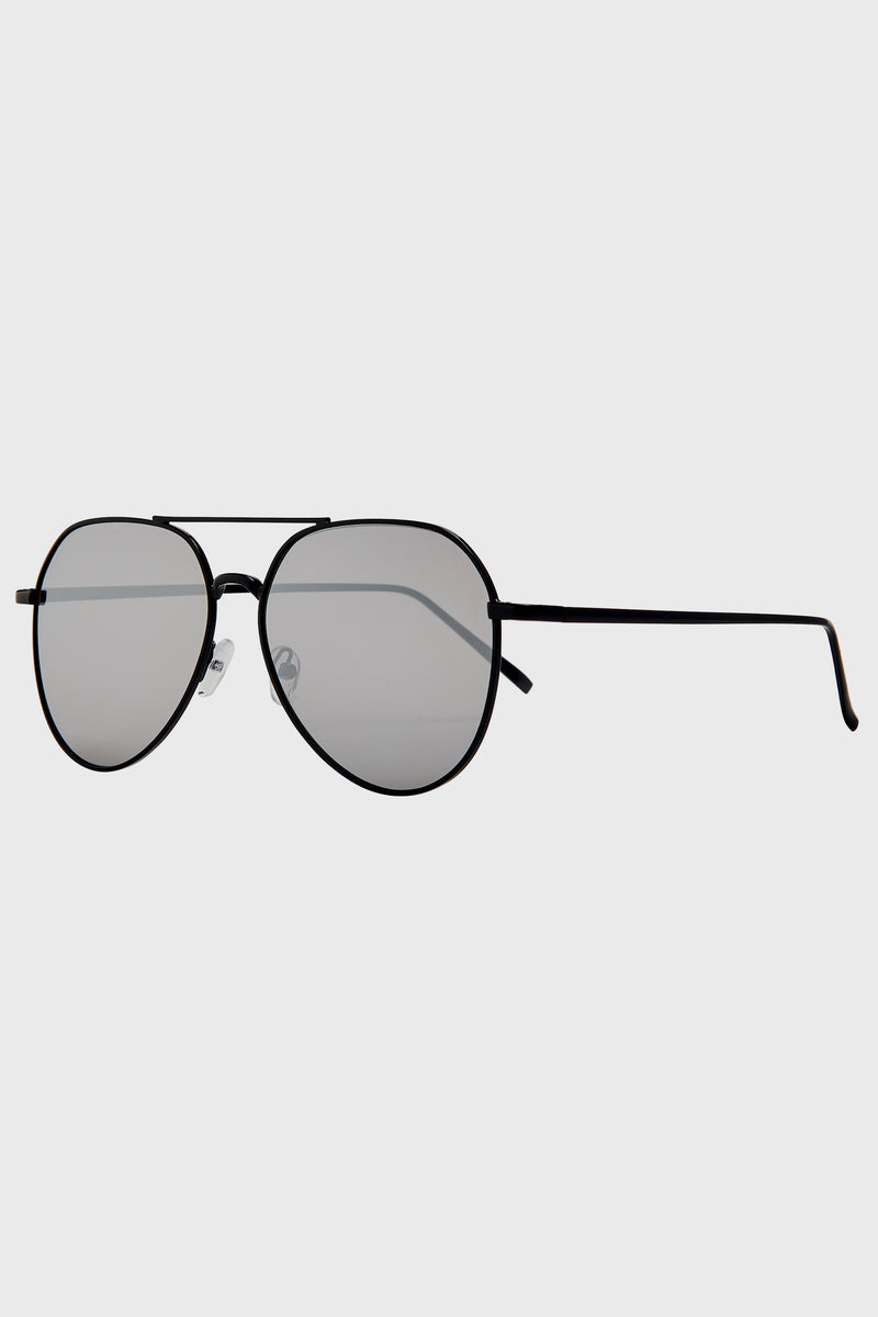 Oversized Aviator With Silver Mirror Lens (Bsg1140)-SUNGLASSES-BaySky